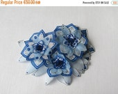 Reserved... Blue and silver grey silk flowers brooch - hand painted silk brooch