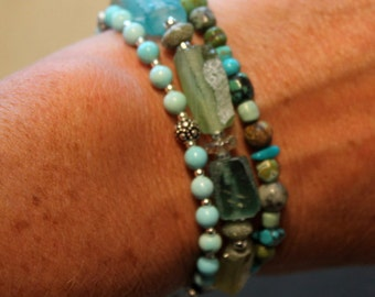 Triple strand of Ancient Roman glass Oregon sunstone, turquoise and sterling silver by EvyDaywear