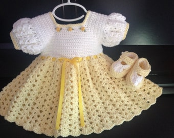 Crochet Cotton Baby Dress, Booties, yellow and white
