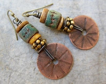 The High Road to Taos artisan dangle earrings rustic boho turquoise polymer clay beads copper discs brass beads
