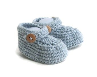 Baby Moccasin Loafers in Blue Merino Wool