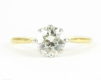 Vintage Diamond Engagement Ring, 0.76 ct Old European Cut Single Stone Diamond Ring. Circa 1930s, 18ct.