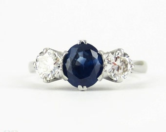 Vintage Sapphire & Diamond Three Stone Engagement Ring, Mid 20th Century Platinum Set Trilogy Ring.
