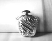 Vintage Sterling Silver Floral Perfume Holder, Repousse Vintage Perfume Holder with Sterling Silver Chain, Vintage Sterling Silver