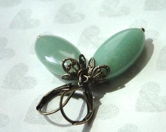 Jewelry, Earrings, Dangle Earrings, Jade Earrings, Gift for Her, Accessoires, Drop Jade Earrings, Boho Chic Autumn Jewelry Collection