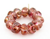 Sheribeads Glass Beads 12 Arabian Nights Transparent Twist Spacers Lampwork