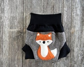 Upcycled Wool Soaker Cover Diaper Cover With Added Doubler Light Brown /Black With Fox Applique NEWBORN 0-3M Kidsgogreen