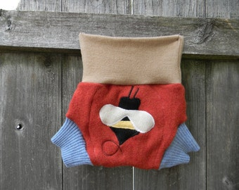 Upcycled Merino Wool Soaker Cover Diaper Cover With Added Doubler Beige/ Orange/ Blue With Bumble Bee Applique SMALL 3-6M