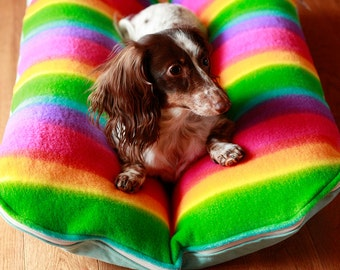 Dog Bed, Rainbow Pride, Fleece, Aqua Blue Bunbed Dachshund Dog Bed, Hot Dog Bed, Colorful LGBTQ Pride Dog Bed