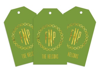 Custom Monogram Gift Tag, Linked Personalized Gift Tag for Gifts, Holidays, Weddings and More