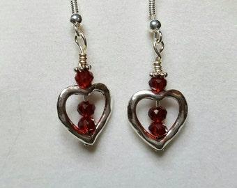 Heart & Garnet Crystal, Silver Earrings