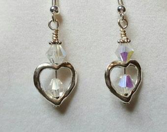 Heart & Iridescent Crystal, Silver Earrings