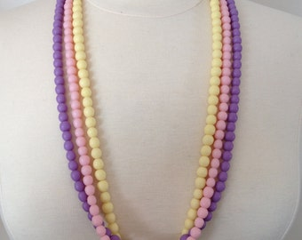 Pastel Resin Bead Statement Necklace in Lavender Purple Lemonade Yellow Blossom Baby Pink