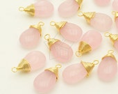 GS-115-GD / 2 Pcs - Cute Jade Wire Wrapped Smooth Drop (Light Pink), 16K Gold Plated Brass Wire / 9mm x 16mm