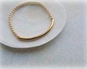 Stackable bracelet,  Gold Tube Bracelet