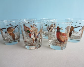 Vintage Glassware - Flying Geese - Rocks Glasses - Vintage Barware