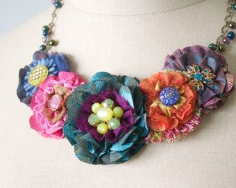 Graduation Gift Girl, Gift for Women, Colorful Fabric Flower Necklace, Unique Statement Jewelry, Gift for Women, Floral Bib Necklace
