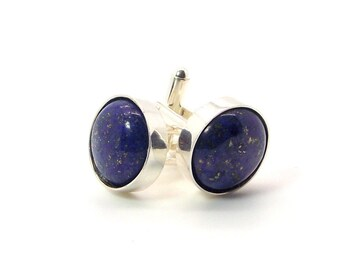 Egyptian Dream Lapis Lazuli Cufflinks – Deep Blue Cufflinks – 16mm Round Lapis Lazuli Cufflinks