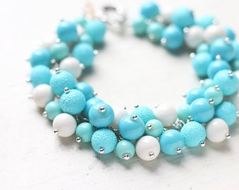 Robins Egg Blue Pearl Bracelet for Weddings and Bridesmaids
