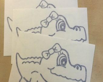 Gator Girl w/Bow Vinyl Decal Sticker-Glossy Oracal 651- BLUE