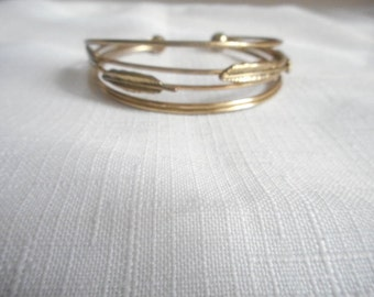 Wire Feather Gold Tone Open Cuff Bangle Bracelet