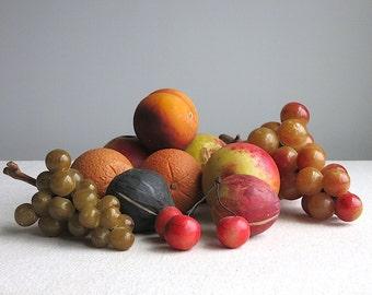 Vintage Painted Marble Alabaster Stone Fruit - Italian 20th Century - Apple Fig Grape Cherries - Americana Folk Art Primitive Rustic
