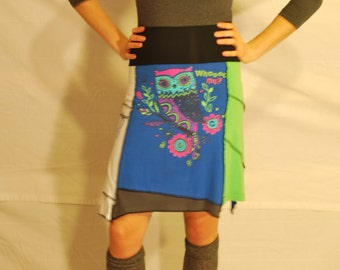 Recycled tee shirt skirt  small with rayon yoga style waistband  S0103