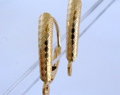 14k Solid Yellow gold leverback disc coin shield pattern lever back earring findings Ear Wire GGE01