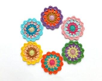 Crochet mandala circles - colorful mandala decorations - handmade mandala applique - kids party decorations - set of 6  ~2.4 inches