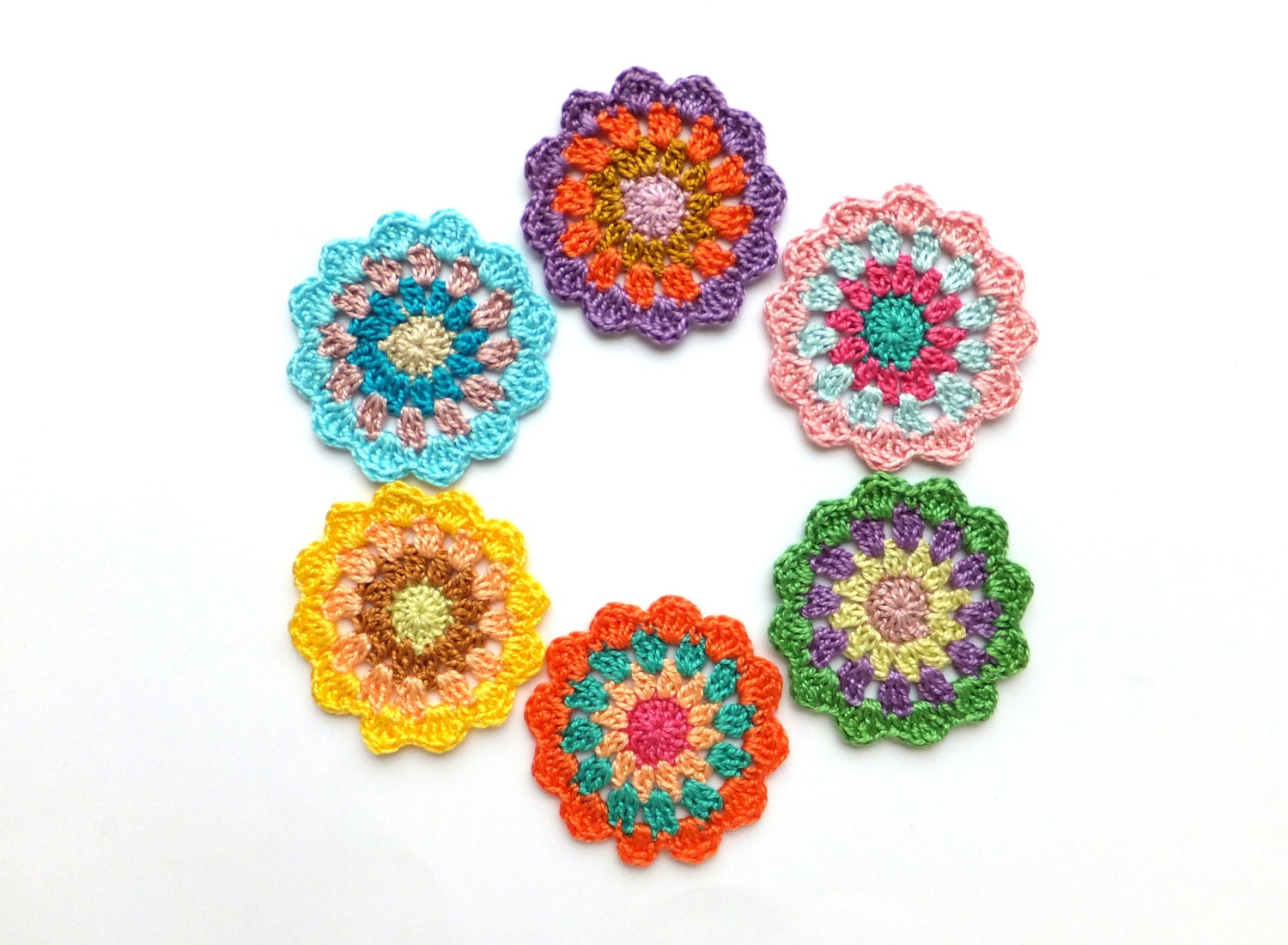 Crochet mandala circles colorful mandala decorations for Applique decoration