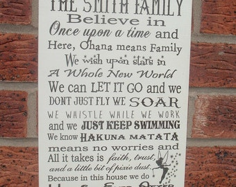 Personalized in this house we believe in once upon a time typography family happily ever after sign plaque