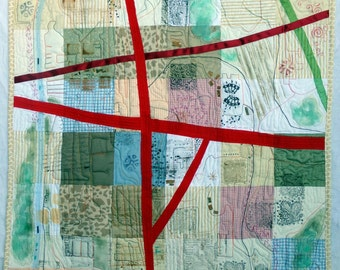 Areas of Concern Textile Art Wall Hanging Pastels Geographic Quilt Mapping City Life HIghways and ByWays Roadwy OOAK Original