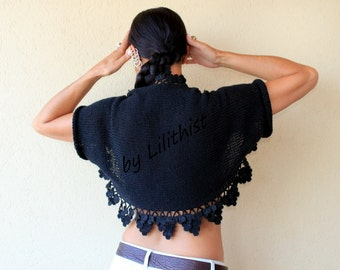 Black Knit Shrug, Crochet Shrug, Knit Bolero, Sweater Cardigan, Bolero Jacket, Wedding Cape, Bridal Shrug, Evening Shrug, Flower Bolero