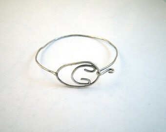 1970s Sterling Silver Hammered Wire Bracelet - Loop and Hook Closure