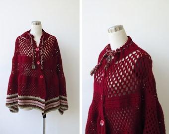 Vintage 1960s hand knitted cape, hand knit boho poncho shawl, Burgundy wine shoulder wrap