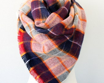Purple plaid blanket scarf  orange tartan scarf bohemian wrap fall fashion accessories scarves for women boho chic shawl chrsitmas gift