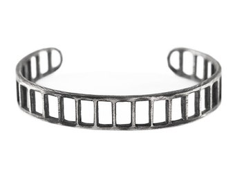 Mens Bracelet Silver Brushed Oxidized Antique Bars Cuff Jewellery