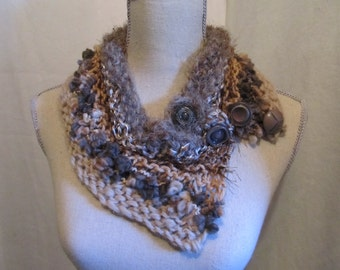 Soft Fancy Neckwarmer with 4 Vintage Buttons.....Assorted Yarns and Textures....Tan Brown and Grey