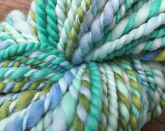 Handspun Art yarn hand dyed hand spun bulky knitting supplies crochet supplies Waldorf doll hair wool merino
