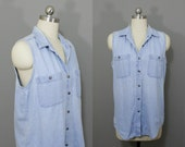 Vintage denim tank sun bleached and distressed