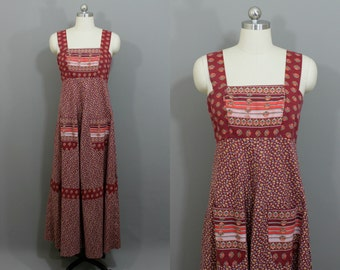 Vintage red floral peasant maxi dress with front pockets