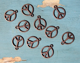 10PCS - Copper Peace Charms - 16x14mm - N19 - Jewelry Supplies by Zardenia - Ships from US