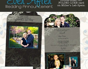 SALE Wedding - Ever After Folded Luxe Announcement- custom photo templates for photographer's on Millers Lab Specs
