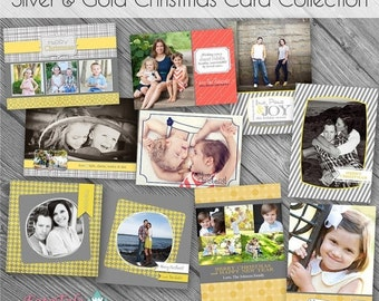 SALE Silver and Gold Christmas Card COLLECTION - Set of 5 photo card templates for photographers on whcc specs