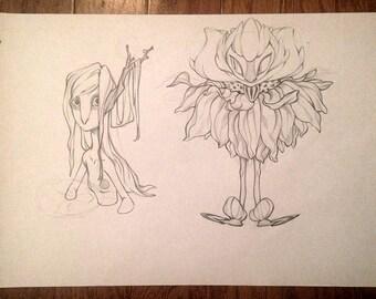 Original fantasy creatures sketch