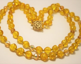 Vintage golden yellow glass bead necklace.  2 row necklace.  2 strand necklace