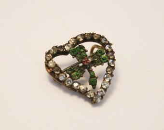 Victorian shamrock brooch.  Crystal shamrock brooch.  Shabby chic