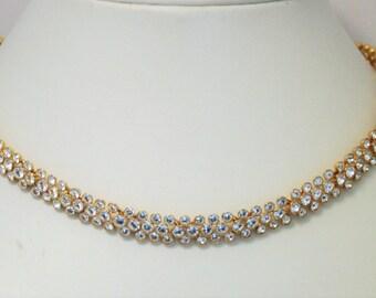 Vintage crystal choker necklace.  Short crystal necklace