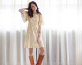 60s Mini Dress - Vintage 1960s Floral Dress - Buttercup Dress