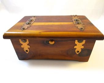 Vintage Cedar Box Copper Brass Decorations Craftsman 1930's Grad Mementos Jewelry Keepsake Display Wood Collectors Box Desk Accessory